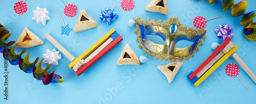 Purim celebration concept. Jewish carnival background. Top view. Flat lay