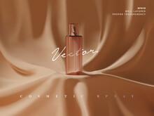 Realistic Transparent Cosmetic Spray Bottle Ads Scene Illustration. Elegant Luxury Fabric Drape Podium For Beauty Product Showcase Or Presentation. 3d Realistic Vector