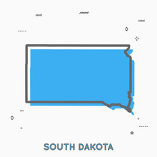 South Dakota Map In Thin Line Style. South Dakota Infographic Map Icon With Small Thin Line Geometric Figures. South Dakota State. Vector Illustration Linear Modern Concept