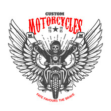 Custom Motorcycles. Emblem Template With Skeleton On Winged Motorcycle. Design Element For Logo, Label, Sign, Emblem, Poster. Vector Illustration
