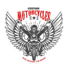 Custom Motorcycles. Emblem Template With Skeleton On Winged Motorcycle. Design Element For Logo, Label, Sign, Emblem, Poster. Vector Illustration