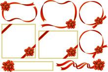 華やかなリボンのフレームセット(赤・金フチ)