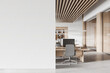 White and wooden open space office interior with mock up wall