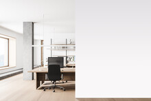 Modern White Open Space Office Interior With Mock Up Wall