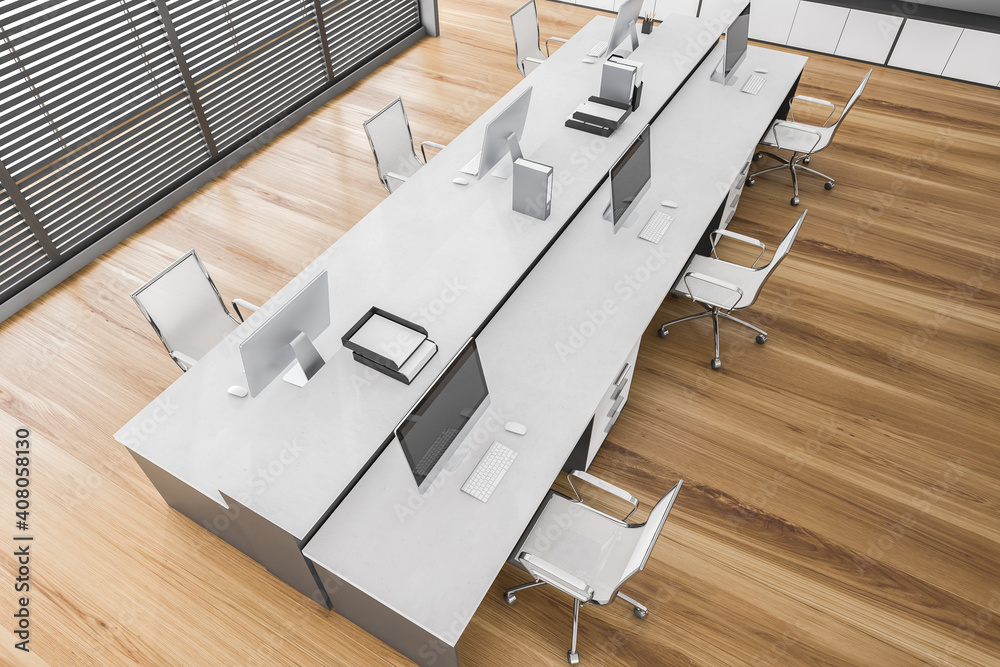 Top view of white office room with tables and computers on parquet floor - obrazy, fototapety, plakaty