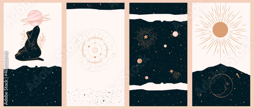 Fotografía Collection of space and mysterious illustrations for stories templates, Mobile App, Landing page, Web design in hand drawn style