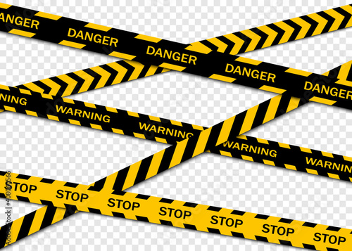 Set of warning tapes isolated on transparent background. Warning tape, danger tape, caution tape, under construction tape. Vector illustration - fototapety na wymiar