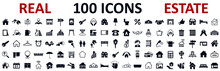 Set 100 Real Estate Icons. Realty, Property, Mortgage, Home Loan, Houses And More, Collection Real Estate Sign - Stock Vector