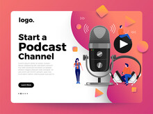 Vector Illustrations Concept Design Podcast Channel. Teamwork Make Podcasting.Studio Microphone Table Broadcast People. Podcast Radio Icon.