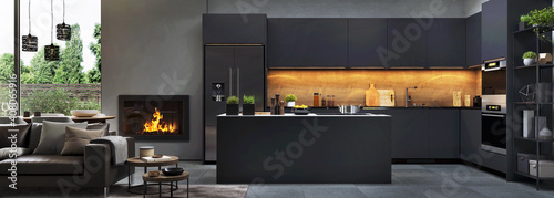 Beautiful open plan matte black kitchen and dining area with fireplace - fototapety na wymiar
