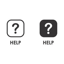 HELP Icon On Thin And Bold Vector Illustration For Online Store Or Website