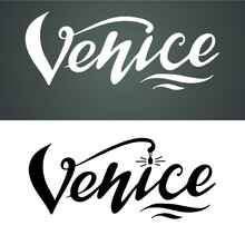 Venice Logo, The Digital Handwritten Title For Postcards, Banners, Posters, Pictures, Calendars, Ads, Black Letters On The White Background.