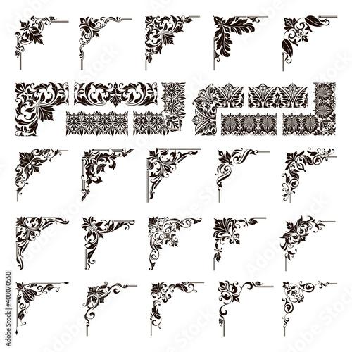 Carta da parati Ornamental design lace borders and corners Vector set art deco floral ornaments