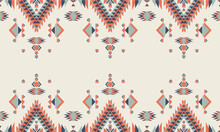Geometric Ethnic Pattern Seamless Flower Color Oriental. Seamless Pattern. Design For Fabric, Curtain, Background, Carpet, Wallpaper, Clothing, Wrapping, Batik, Fabric,Vector Illustration. Pattern Sty