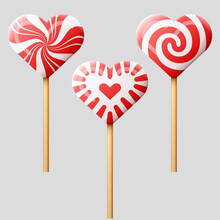 Set Of Heart Shaped Candies On Wooden Stick. Striped Peppermint Lollipops Isolated On Gray. Vector Illustration For Valentines Day, Wedding, Cooking, Romantic Relationship, Food, Love, Etc