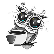 Hand Drawn Typography Coffee Poster. Cute Trendy Owl With Cup Of Hot Coffee. Greeting Card Or Print Invitation With Phrase. But First Coffee. Emblem, Sign For Coffee Shop