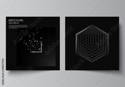 Vector layout of two square covers design templates for brochure, flyer, magazine, cover design, book design.Black color technology background. Digital visualization of science, medicine, tech concept
