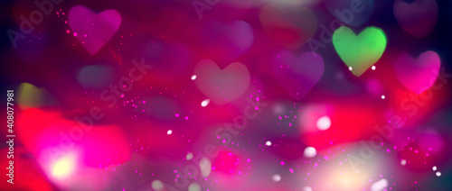 Fototapeta Valentine's Day Background. Holiday Blinking Abstract Valentine Backdrop with Glowing colourful Hearts. Heart Shape Bokeh. Love concept. Colorful Art design.  obraz