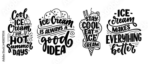 Obraz Set with hand drawn lettering compositions about Ice Cream. Funny season slogans. Isolated calligraphy quotes for summer fashion, beach party. - fototapety do salonu