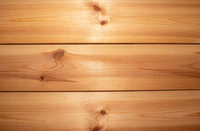 Wooden Texture Background, Pine Board, Spruce Table With Knots. Horizontal Banner. Top View Light Wood Textured Surface With Natural Pattern. Timber Backdrop. Rustic Craft Workbench. Floor Or Wall.
