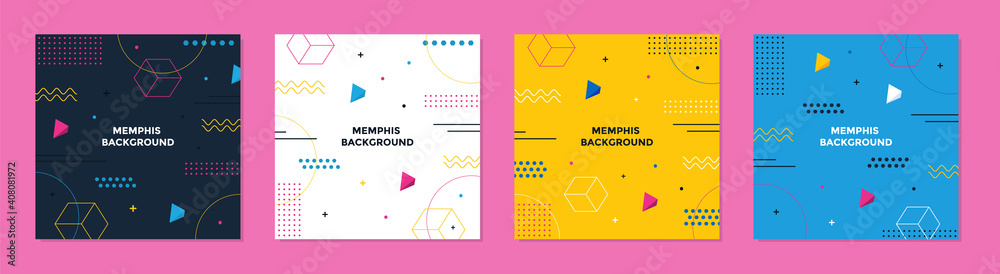 Fototapeta Abstract Colorful Memphis Square Background. Trendy geometric abstract square template.