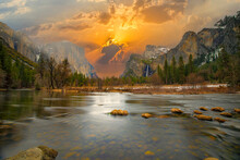 Beautiful View In Yosemite Valley With Half Dome And El Capitan From Merced River