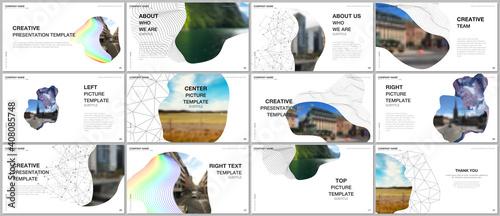 Fototapeta Presentation design vector templates, multipurpose template for presentation slide, flyer, brochure cover design, infographic report. Simple minimal design background with geometric curved shapes. obraz