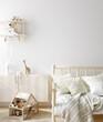 Blank wall mock up in cozy nursery interior background, Scandinavian style, 3D render