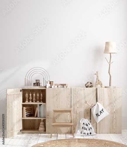 Blank wall mock up in cozy nursery interior background, Scandinavian style, 3D render