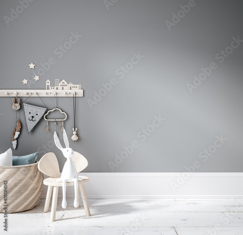 Obraz Blank wall mock up in cozy nursery interior background, Scandinavian style, 3D render - fototapety do salonu