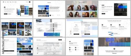 Fototapeta Vector templates for website design, presentations, portfolio. Templates for presentation slides, flyer, leaflet, brochure cover. Corporate business identity style for any purposes. Business template. obraz