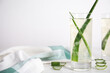 Fresh aloe drink with leaves in glasses on white wooden table. Space for text