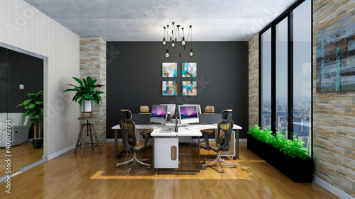 Foto Stylish office room, photorealistic 3D Illustration of the interior, suitable for using in video conference and as a zoom background