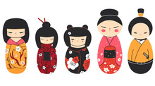 Isolated Kokeshi Dolls Collection. Set Of Various Traditional Japan Culture Symbols. Cute Geisha, Samurai Toys Cartoon Clipart.