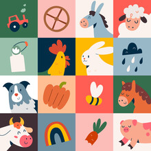 Farm Animals Poster With Cute Doodle Cartoon Illustrations For Kids, Colored Pop Art Mural, Cow, Dog And Pig
