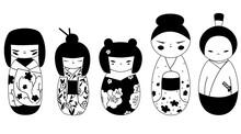 Isolated Kokeshi Dolls Transparent Outline Collection. Set Of Various Traditional Japan Culture Symbols. Cute Geisha, Samurai Toys Cartoon Clipart.