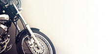 Motorcycle On White With Copy Space, Vintage Effect On Wall Background