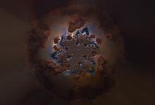 Fantastic Brown Blue Fractal Background. Metal Ball. Abstract Fractal Texture. Digital Art. 3D Rendering.