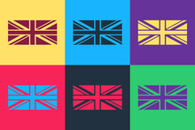 Pop Art Flag Of Great Britain Icon Isolated On Color Background. UK Flag Sign. Official United Kingdom Flag Sign. British Symbol. Vector.