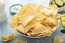 Corn Tortilla Chips In A Bowl Ready To Be Eaten