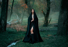 Mysterious Fantasy Gothic Woman Dark Witch Obsessed By Evil. Girl Demon Vampire In Black Dress Cape Hood. Walk In Dark Dense Deep Forest Background, Trees. Medieval Queen In Silk Cloak, Scarf Posing
