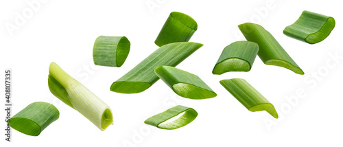 Fotografie, Obraz Falling green onion slices, cut chives isolated on white background