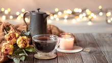 Cozy Composition With A Cup Of Tea, Decor Details And Flowers Copy Space.