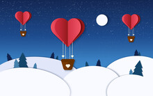 Romantic Illustration In Winter Paper Cut. Heart Air Balloons Fly In The Night Sky. Valentine Day Design. Paper Craft. Vector Illustration With Heart Balloon, Night, Forest, Stars And Moon.