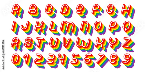 Obraz Rainbow font. Colorful alphabet letters and numbers vector illustration - fototapety do salonu