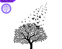 Flying Birds  On A Branch. Tree Silhouette With Birds Flying. A Flock Of Flying Birds. Transparent Background.
