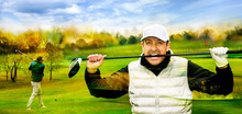 Close Up Portrait Of Gritty Golf Player Biting His Golf-club. Golf Course With Golf Player In The Background.