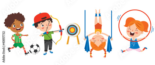 Vászonkép Happy Kids Making Various Sports