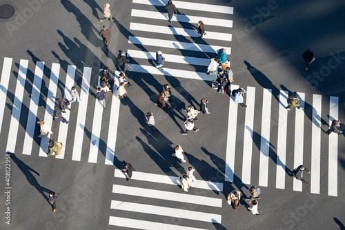 Obraz na plátně 人々の行き交うスクランブル交差点