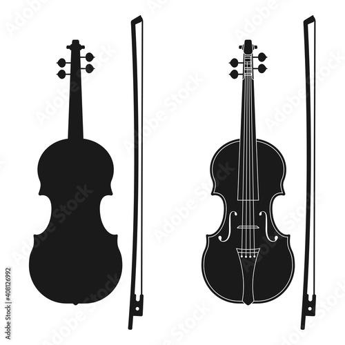 Obraz na plátně Violin icon. Music instrument silhouette. Vector illustration.